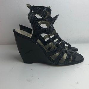 Black snakeskin sexy strappy wedge sandal size 5.5